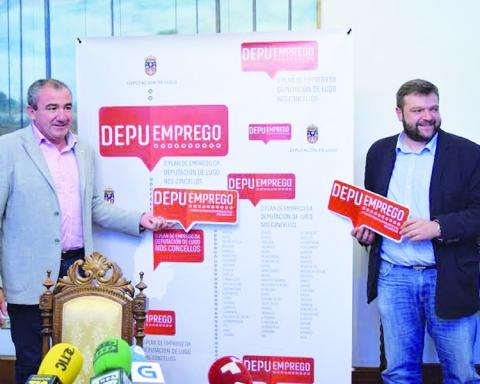 O presidente da Deputación, Darío Campos Conde, e o vicepresidente, Álvaro Santos Ramos, na presentación do programa DepuEmprego. GPDL.