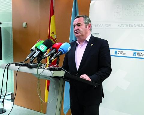 O delegado territorial da Xunta en Lugo, José Manuel Balseiro, na rolda de prensa de finais de febreiro, na que fixo balance dos primeiros 100 días de Goberno da Xunta. GPDTL
