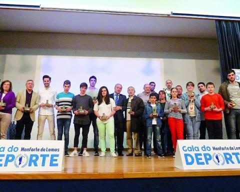 Imaxe de arquivo dos premiados na pasada edición dos Premios do Deporte de Monforte. Arquivo EC
