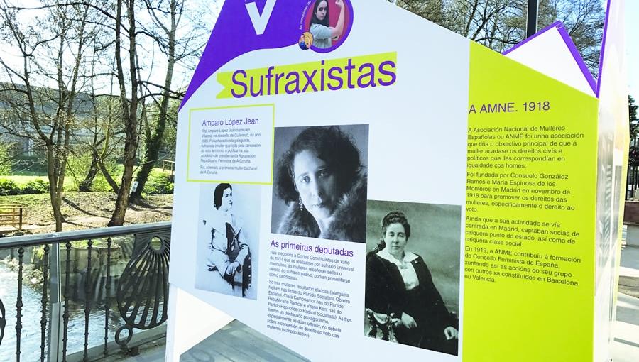 """Imaxe da exposición que o Concello de Sarria instalou no Paseo do Malecón, dentro do proxecto """"Vivas e Visibles"""", co gallo do Día Internacional da Muller. EC"""